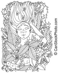 Vector illustration zentangl girl child freckles is sleeping with cats in flowers. Doodle drawing, bloom, forest, garden. Coloring book anti stress for adults. Black white.