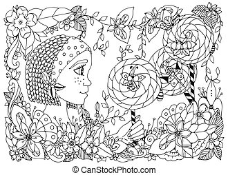 Vector illustration zentangl girl child with freckles holding a lollipop. Doodle frame flower, butterfly garden, African braids. Coloring book anti stress for adults. Black white.
