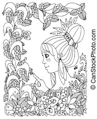 Vector illustration zentangl girl child with freckles looks at ladybug in a flower. Doodle frame flower, garden, forest, spring. Coloring book anti stress for adults. Black white.
