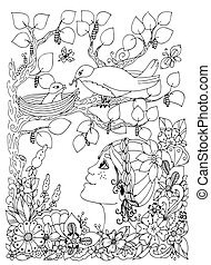 Vector illustration zentangl girl child with freckles looks at the bird nest. Doodle flowers, frame, wood. Coloring book anti stress for adults. Black white.