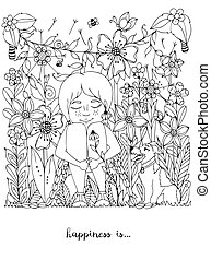Vector illustration zentangl girl freckles sitting in the flowers on grass with a dog fox terrier. Doodle, dandelion, frame, forest, garden, grass. Coloring book anti strees for adults. Black White.