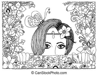 Vector illustration zentangl girl looks out of the stone walls in flowers, floral doodle frame, zenart, dudlart butterfly.  Adult coloring books. Black and white.