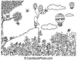 Vector illustration zentangl girl on the mountain with balloons. Garden, doodle flowers, clouds, tree, owl, zenart, dudling. Coloring anti stress for adults. Adult coloring books.