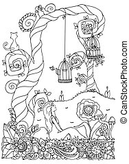 Vector illustration zentangl girl sitting near a tree. Flower frame. Doodle drawing. Meditative exercises. Coloring book anti stress for adults. Black white.