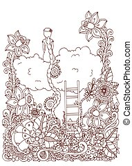 Vector illustration zentangl, girl sitting on a cloud in flowers. Doodle floral drawing. meditative exercises. Coloring book anti stress for adults. Brown white.