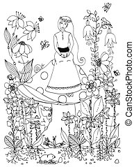 Vector illustration zentangl girl sitting on  mushroom. Fairy story, doodle flowers, rabbit, carrot, fairy, princess, butterfly. Coloring book anti stress for adults. Black and white.
