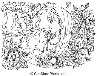 Vector illustration zentangl girl with freckles looking at the squirrel, sleeping face in flowers. Cartoon, child, forest dwellers. Doodle. Coloring book anti stress for adults. Black white.