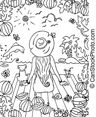 Vector illustration zentangl girl, woman with a dog in the sea, holiday, travel. Back, doodle watermelon. Dolphin palms. landscape. Coloring anti stress for adults. Black white.