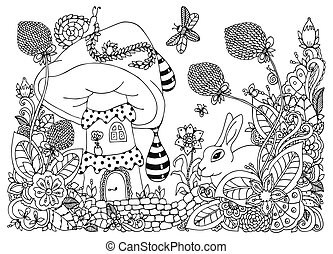 Vector illustration zentangl, house in the mushroom, rabbit in the flowers. Doodle drawing. Coloring book anti stress for adults. Meditative exercises. Black white.