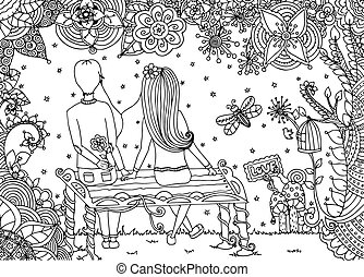 Vector illustration zentangl, loving couple sitting on a bench in flower garden. Doodle drawing. Meditative exercises. Coloring book anti stress for adults. Black white.