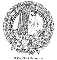 Vector illustration zentangl, mulatto woman with braids African in the floral round frame. Doodle. Coloring book anti stress for adults. Black white.