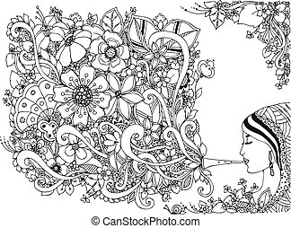Vector illustration zentangl woman, girl flute with flowers....