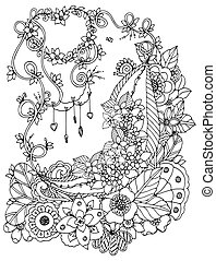Vector illustration zentnagl, floral frame. Doodle drawing. Coloring book anti stress for adults. Black and white.