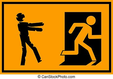 vector illustration - zombie emergency exit sign with a stick figure silhouette undead chasing a person trying to escape