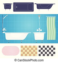 Vector illustration.Bathroom with furniture. Bathroom interior