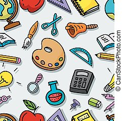 Seamless pattern with school stuffs