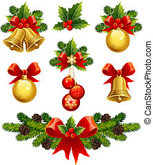 christmas ornaments - vector illustrations - christmas...