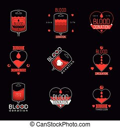 Vector illustrations created on blood donation theme, blood...
