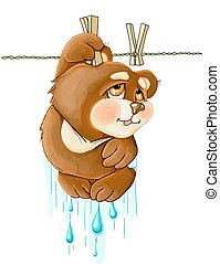vector illustrations funny cute brown teddy bear hanging
