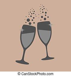 vector illustrations glasses of champagne
