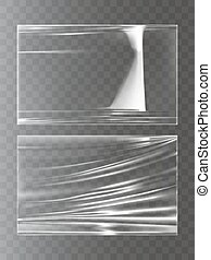 Vector illustrations of a plastic wrapping stretch film in a...