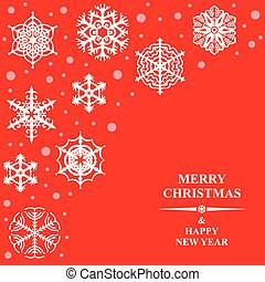 Christmas card with beautiful decorative snowflakes on red background