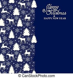 Christmas card with deer, fir, pine and snowflakes