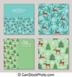 Christmas cards with deer, fir, pine and snowflakes set