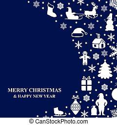 Christmas congratulatory card on blue background