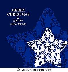 Christmas decorative stars blue background