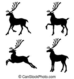 Christmas deer silhouette set