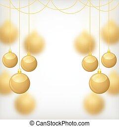 Christmas gold balls on blur background