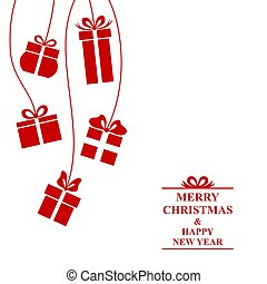 Christmas greeting card with hanging gifts