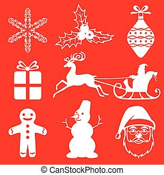 Christmas icon set on red background