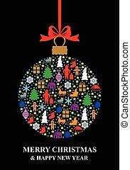 Christmas multicolor ball card