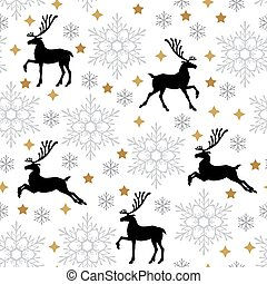 Christmas pattern seamless with deer and snowflakes