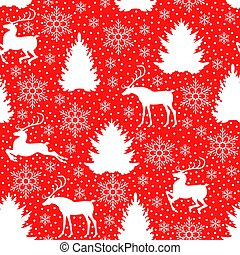 Christmas pattern seamless with deer, fir, pine and snowflakes
