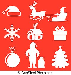 Christmas silhouette set on red background