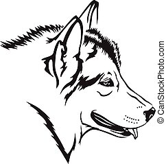 Malamute dog - Vector illustrations of contour Malamute dog ...
