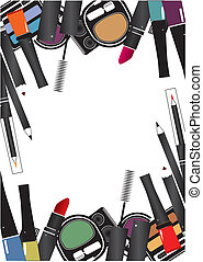Vector illustrations of cosmetics isolated make up on a...