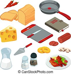 Vector illustrations of different foods and kitchen tools for cooking