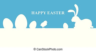 Easter banner on blue background