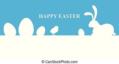 Easter banner on blue background