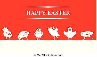 Easter banner with chickens on red background