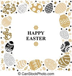 Easter card with decorative frame of eggs