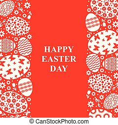 Easter decorative card on red background