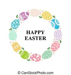 Easter decorative round frame of eggs