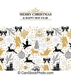 Greeting card with Christmas symbols