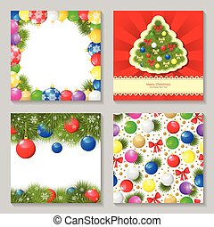 Christmas card set with multicolor baubles design