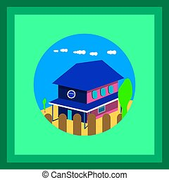 Vector illustrations of house, fence, cloud and tree in the middle of the circle on green background.